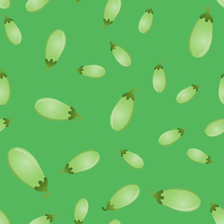 Seamless pattern with zucchini on a green background. Vector illustration.