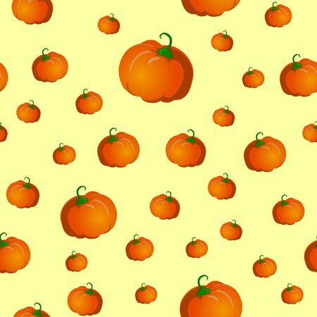 Seamless pattern with pumpkins. Vector illustration on yellow background