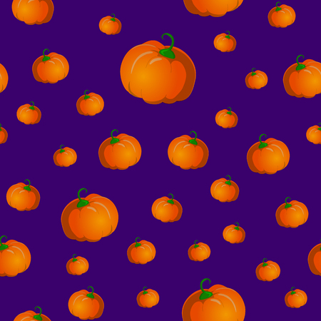 Seamless pattern with pumpkins. Vector illustration on purple background