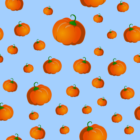 Seamless pattern with pumpkins. Vector illustration on blue background