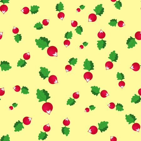 seamless pattern with radish on a yellow background