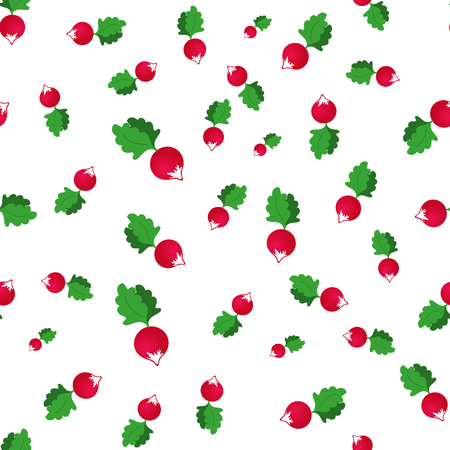 seamless pattern with radish on a white background