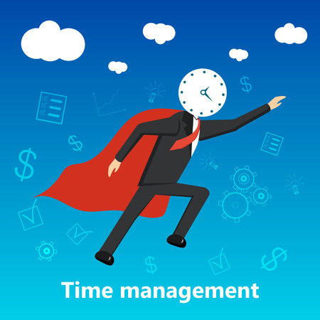 Business man with clock instead of head flying in sky like superhero in red cloak. Concept for time management for maximizing effect. Vector illustration.
