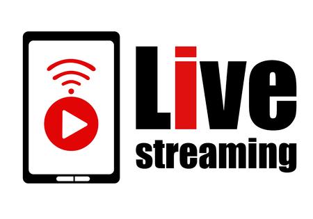 Élément de conception de logo en streaming en direct avec signe du bouton de lecture wifi et smartphone pour les nouvelles et la télévision ou la diffusion en ligne. Illustration vectorielle