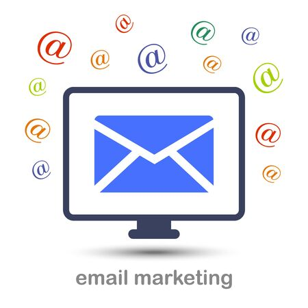 Email marketing icon on white backdrop with an inscription. 矢量图片
