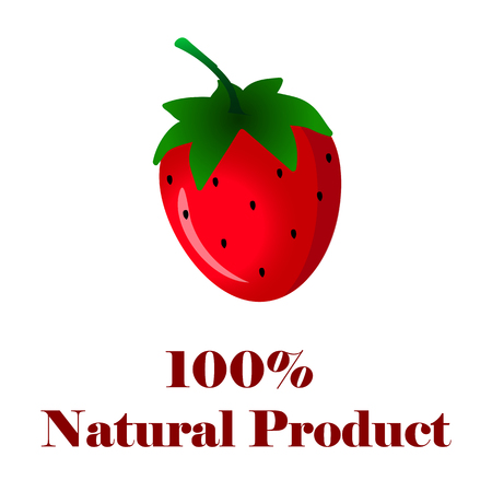 100 percent natural product strawberry on white background