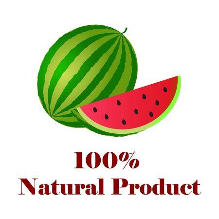 100 percent natural watermelon. Illustration