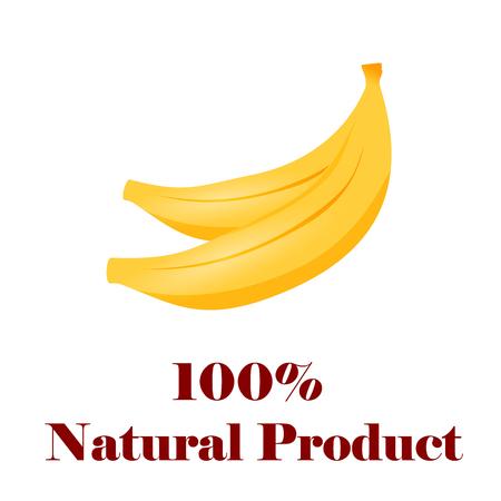 100 percent natural banana. Illustration