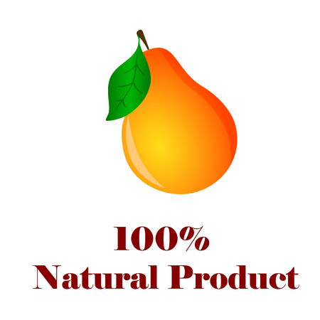 100 percent natural product pear on white background