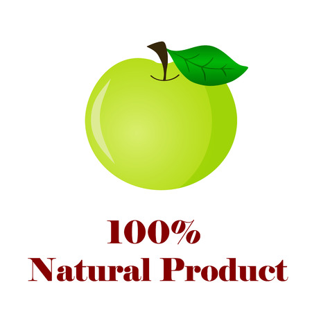 100 percent natural product apple on white background