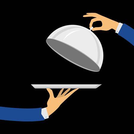 Restaurant plate in elegant waiter hand illustration.