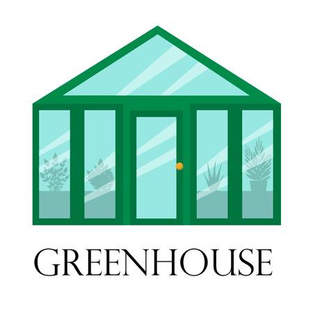 유리 벽, 식물, 꽃 성장을위한 벡터 원예 음악원 온실. 클래식 온실 원예 재배.
