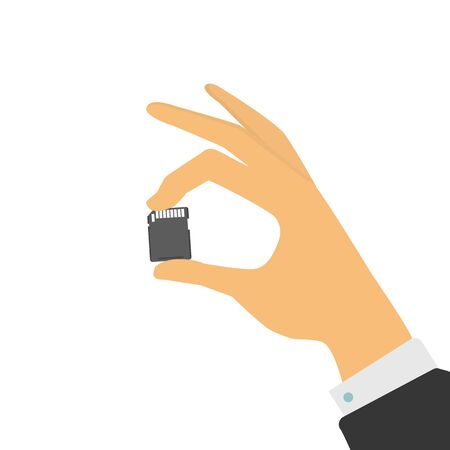 The hand holds a memory card. Vector illustration Illustration