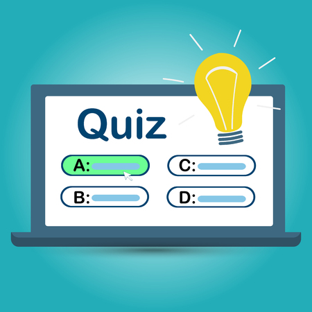 Quiz on your computer screen with answer choices. Vector illustration Ilustrace