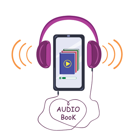 Listening and learning electronic library. Vector illustration Stock Illustratie