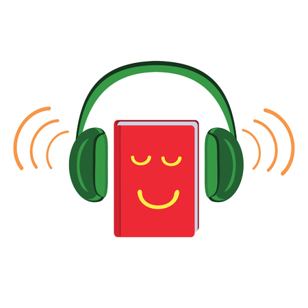Listening and learning electronic library. Vector illustration Stockfoto