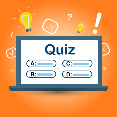 quiz on your computer screen with answer choices. Interesting Vector Illustration