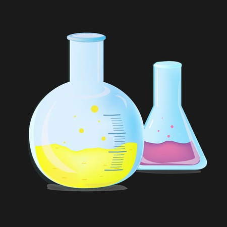 test tube glass chemical flask for conducting test reaction experience. Vector illustration Фото со стока