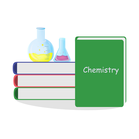 test tube glass chemical flask for conducting test reaction experience with learning books. Vector illustration