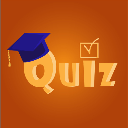 Quiz interesting vector illustration with academic cap. Vector illustration