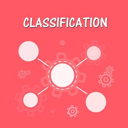 Classification, data analysis, data management icon. Vector illustration on yellow background.