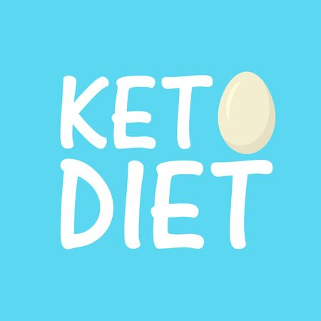 Keto Diet with egg. Healthy food - fats, proteins and carbs. Low carbs ketogenic diet food. Vector illustration.