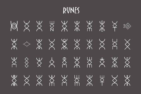 Rune round of letters, runes alphabet. Runic alphabet. Occult ancient symbols. Futhark. Vector illustration.