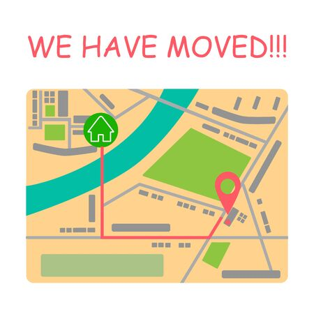 We have moved. Moving office sign with map. Vector illustration with geo pin symbol. Address concept.