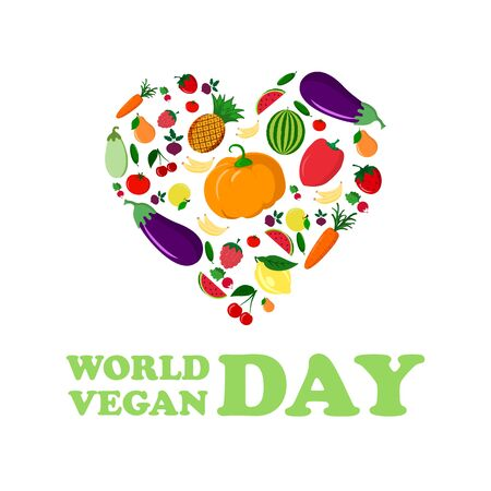 World Vegan Day vector illustration. Vegetable heart. Fresh and healthy veggies background. Healthy nutrition. Cartoon design. November 1.