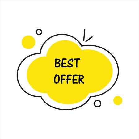 Best offer. Flat vector geometrical vintage warm color banner. Texting box promotion concept. Vector illustration. Vektorové ilustrace