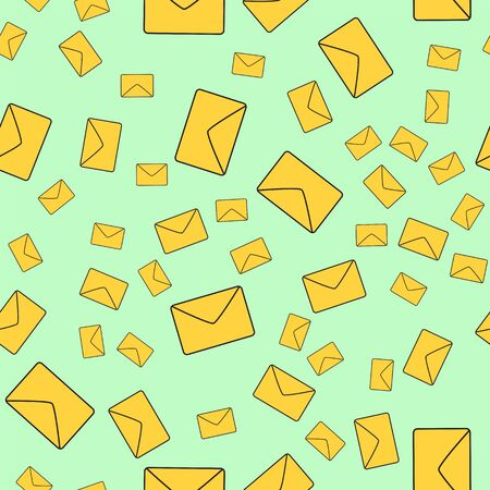 Vector seamless background with yellow envelopes. Mail concept.