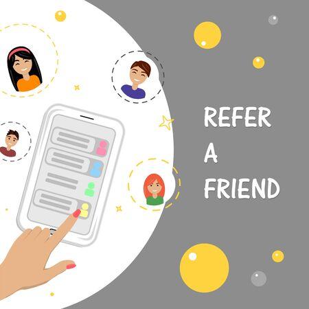 Empfehlen Sie ein Freundkonzept mit Smartphone-Mann- und -Frauensymbolen. Flache Vektorgrafik