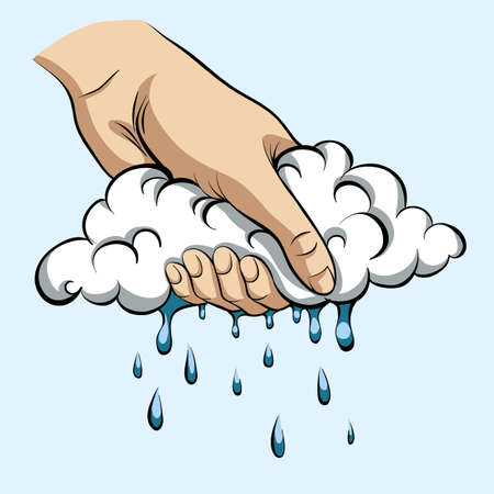 To squeeze rain out of the cloud. Illustration