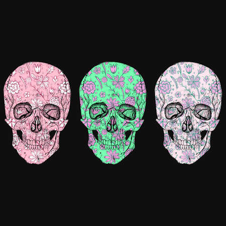 Skulls with floral patterns.