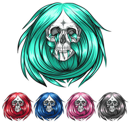 Skulls with chic hairstyles