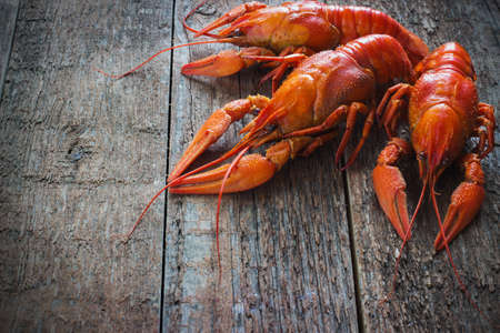 lobster dinner: Boiled crayfish on a wooden old  background