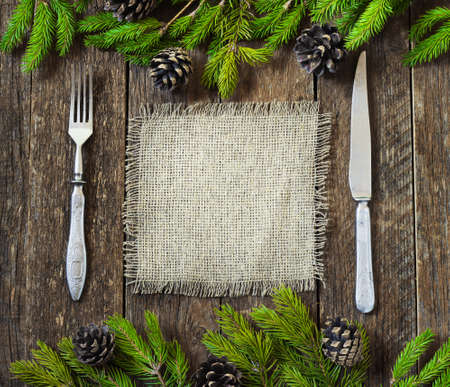 space for writing: Christmas burlap background for cooking with space for writing rustic