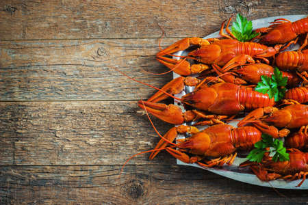 cancers: crawfish on wooden background in a plate toning