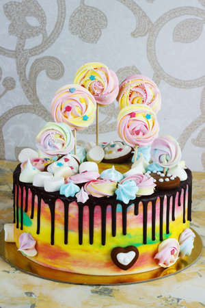 fondant fancy: Childrens cake rainbow color on a white background with wood meringue