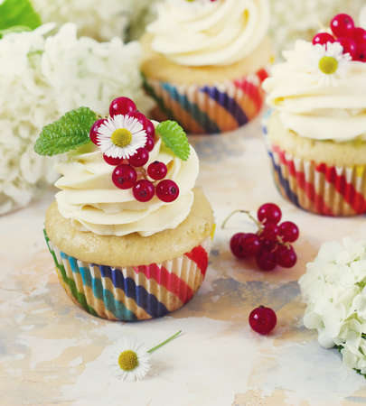 Delicious cupcakes with cream and berries on a light background