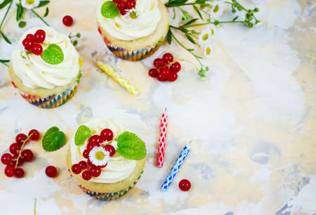 blueberry muffin: Gentle cupcake with cream and berries ?nd a candle a light background.