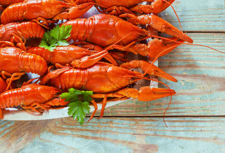 Crawfish on wooden table background