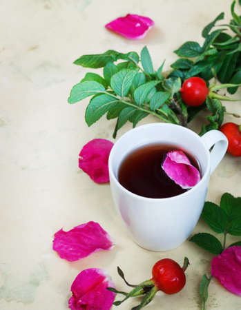 Tea from a dogrose in a mug on a light background with fruits Stock Photo