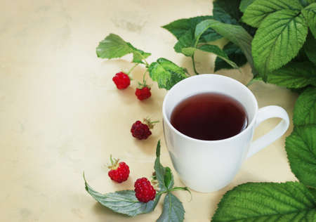 Raspberry tea with leaves and raspberries on a light background