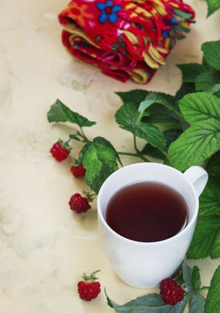 Raspberry tea with leaves and raspberries, warm scarf on a light background