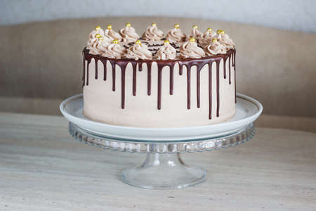 Delicious cake with Fudge Drizzled Icing and Curls