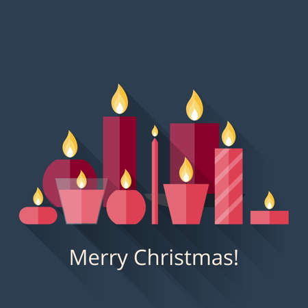 waxen: Christmas card with candles in flat style with long shadows. Merry Christmas! Flat icons Christmas candles with long shadows. 9 different candles in flat style. Candles collection