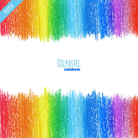 Hand drawn colorful oil pastel rainbow background. Crayon background