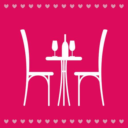 pareja comiendo: Vino en la mesa y una silla silueta. Silueta de una mesa en un café. Tabla con el vino y el vidrio y con sillas al lado de él. Interior de la cafetería. Mesa en el restaurante para dos. Vectores