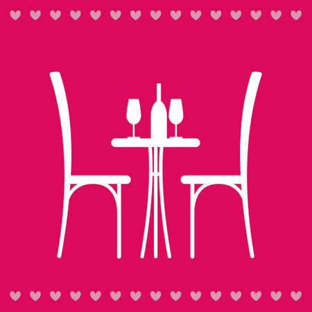 cafe table: Wine on the table and chair silhouette. Silhouette of a table in a cafe. Table with wine and glass and with a chairs beside him. Interior of the cafe. Table in the restaurant for two.